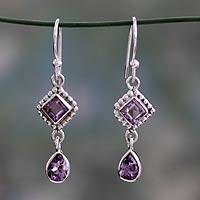 Amethyst dangle earrings, 'Purple Spark' - Artisan Crafted Sterling Silver and Amethyst Earrings