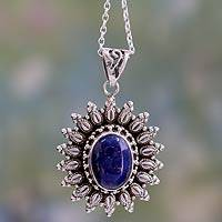 Lapis lazuli pendant necklace, 'Royal Allure' - Artisan Crafted Lapis Lazuli and Silver Pendant Necklace