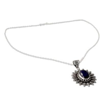 Artisan Crafted Lapis Lazuli and Silver Pendant Necklace