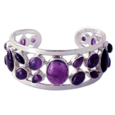 Amethyst Studded Sterling Silver Cuff Bracelet from India