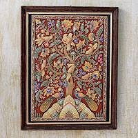 Marble dust relief panel, 'Tree of Life III' - Handcrafted Framed Marble Dust Tree of Life Relief Panel