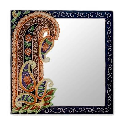 Mirror, 'Precious Paisley' - Handmade Paisley Wall Mirror from India