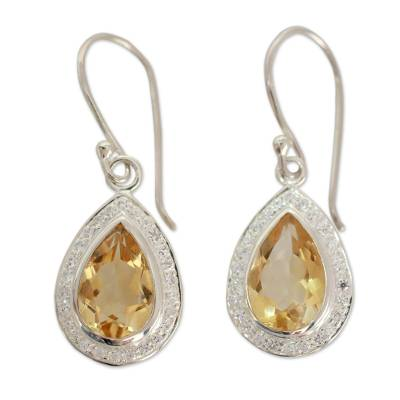 Fair Trade Sterling Silver and 6 ct Citrine Dangle Earrings