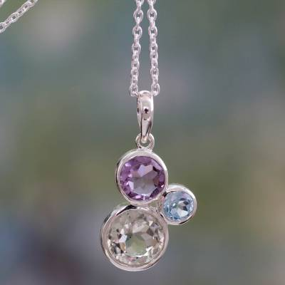 Amethyst, blue topaz and prasiolite pendant necklace, 'Beguiling Trio' - Pendant Necklace with Amethyst, Blue Topaz and Prasiolite