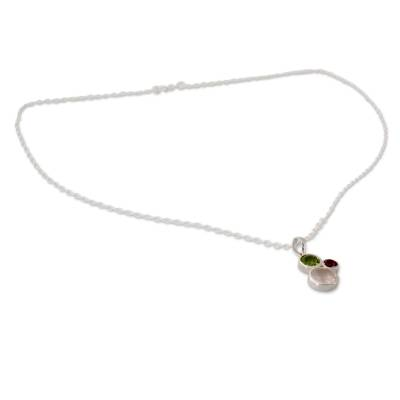 Rose Quartz Amethyst and Peridot Pendant Necklace