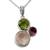 Rose quartz, peridot and amethyst pendant necklace, 'Enchanting Trio' - Rose Quartz Amethyst and Peridot Pendant Necklace (image 2b) thumbail