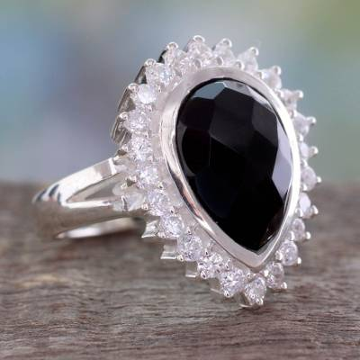 Faceted Onyx and Sterling Silver Cocktail Ring for Women