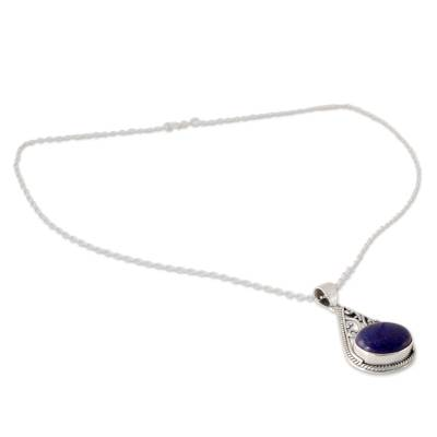 Indian Jali Style Silver Pendant Necklace with Lapis Lazuli