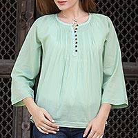 Cotton voile tunic, 'Mandala Green' - Handcrafted Indian Cotton Boho Chic Solid Green Tunic Top
