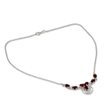 Ornate Garnet and Sterling Silver Pendant Necklace
