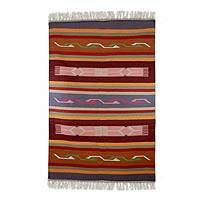 Wool rug, 'Dancing Meadow' (4x6) - Hand Woven Wool Multicolor Area Rug Indian Dhurrie (4x6)