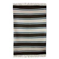 Wool dhurrie rug, 'Peaceful Bands' (4x6) - Hand Loomed Striped Wool Dhurrie Rug from India