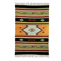 Wool dhurrie rug, 'Fiery Flavor' - Handcrafted Multicolor Indian Wool Dhurrie Area Rug (4x6)
