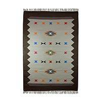 Wool dhurrie rug, 'Flying Kites' (4x6) - Multicolor Wool Dhurrie Area Rug Handmade in India (4x6)