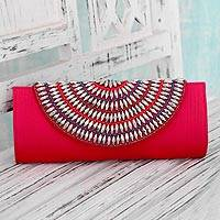 Embellished clutch bag, 'Lavish Pink' - Fair Trade Embellished Clutch Bag from India