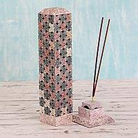 Soapstone candle and incense holder, 'Mughal Fragrance' - Handcrafted Soapstone Candle and Incense Holder from India