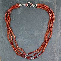 Carnelian beaded strand necklace,