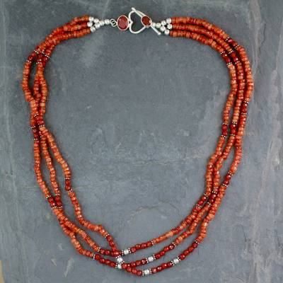Carnelian beaded strand necklace, 'Sunset Glee' - Fair Trade Beaded Carnelian Multi-Strand Necklace
