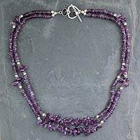 Amethyst strand necklace, 'Lilac Dance' - Double Strand Beaded Amethyst Necklace from India