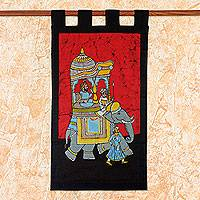 Cotton batik wall hanging, 'Royal Outing' - Handmade Indian Cotton Batik Elephant Wall Hanging