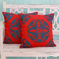 Cotton cushion covers, 'Emerald Kaleidoscope' (pair) - Embroidered Green on Red Cushion Covers from India (Pair)