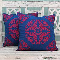 Cotton cushion covers, 'Magenta Kaleidoscope' (pair) - Embroidered Magenta On Blue Cushion Covers From India (Pair)