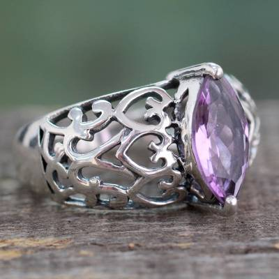 Marquise Amethyst Single Stone Silver Ring from India