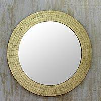 Glass mosaic mirror, 'Golden Glamour' - Handmade Golden Glass Mosaic Wall Mirror from India