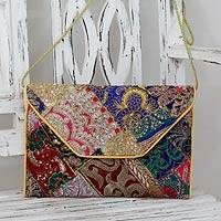 Upcycled beaded flap handbag, 'Vibrant Dream' - Beaded Patchwork Embroidered Purse of Recycled Fabric