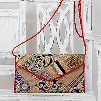 Upcycled beaded flap handbag, 'Festive Dream' - Embellished Fair Trade Shoulder Bag
