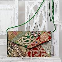 Upcycled beaded flap handbag,