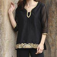 Beaded cotton and silk tunic, 'Midnight Jewels' - Black Beaded Gota Embroidery Cotton Blend Tunic from India