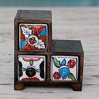 Wood and ceramic mini chest of drawers, 'Triad Colors' - Handmade Colorful Wood Chest with 3 Ceramic Drawers