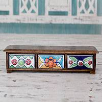 Wood and ceramic mini chest of drawers, 'Floral Breeze' - Horizontal Wood Chest with Three Ceramic Drawers