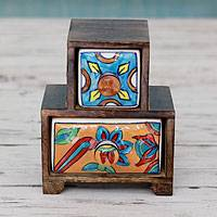 Wood and ceramic mini chest of drawers, 'Floral Mosaic' - Hand Crafted Wood Chest with 2 Ceramic Drawers