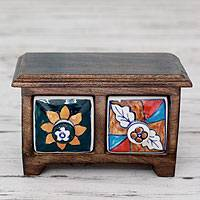 Wood and ceramic mini chest of drawers, 'Blossoming Duo' - Handcrafted Chest with Ceramic Drawers