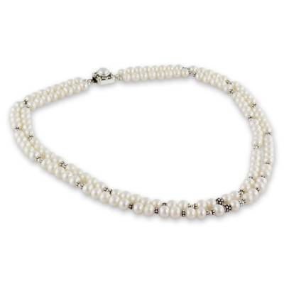 Handmade Double Pearl Strand Silver Necklace from India