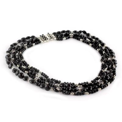 Four Strand Black Onyx Necklace With Sterling Silver