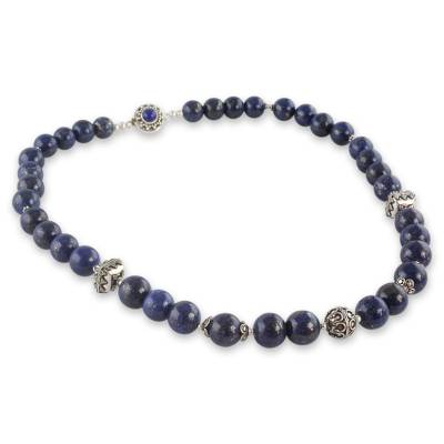 Handmade Sterling Silver and Lapis Lazuli Beaded Necklace