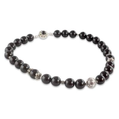 Indian Handmade Black Onyx and Sterling Silver Necklace