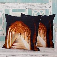 Cotton cushion covers, 'Sunlit Arches' (pair) - Screen Printed Square Cotton Cushion Covers (Pair)