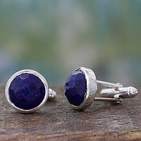 Lapis lazuli cufflinks, 'Mystique' - Artisan Crafted Silver and Faceted Lapis Lazuli Cufflinks