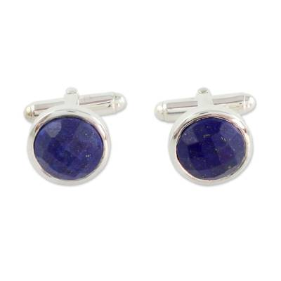 Artisan Crafted Silver and Faceted Lapis Lazuli Cufflinks