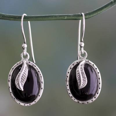 Onyx dangle earrings, 'Tender Leaves' - India Fair Trade Onyx and Sterling Silver Dangle Earrings