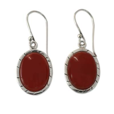 Fair Trade Carnelian and Silver Earrings from India