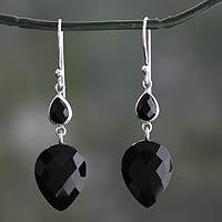 Onyx dangle earrings, 'Delhi Allure' - Faceted Black Onyx Dangle Earrings from India