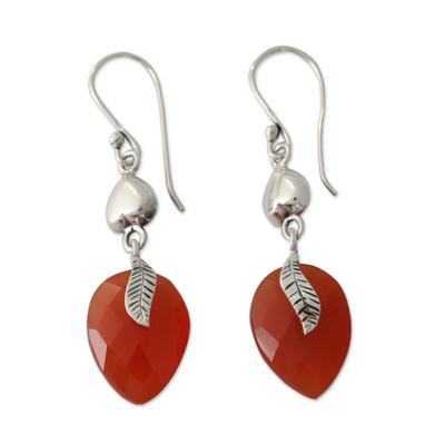 Sterling Silver and Carnelian Leaf Dangle Earrings