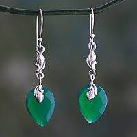 Green onyx dangle earrings, 'Lush Forest' - Enhanced Green Onyx Dangle Earrings from India