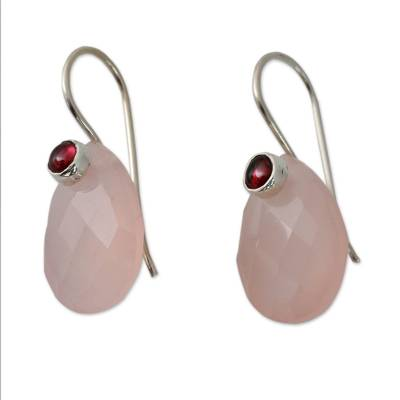 Pink Chalcedony and Garnet Gemstone Drop Earrings