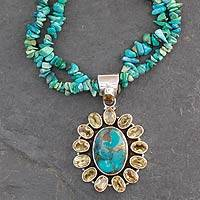 Turquoise and citrine pendant necklace, 'Sunny Sky' (India)